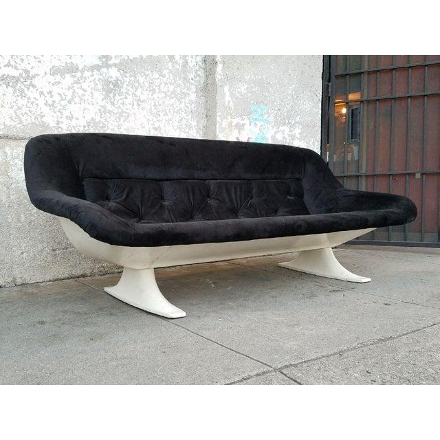 Mid-Century Modern Black Velvet Sofa - Image 6 of 7