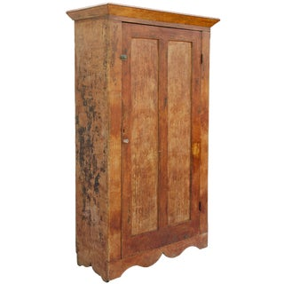 Early Primitive Painted Pine Armoire