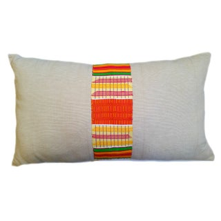 Vintage Linen African Kente Cloth Lumbar Pillow