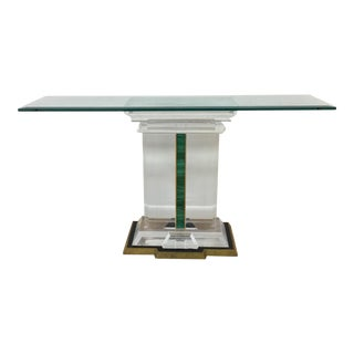 Jeffrey Bigelow Signed Lucite and Malachite Console Table