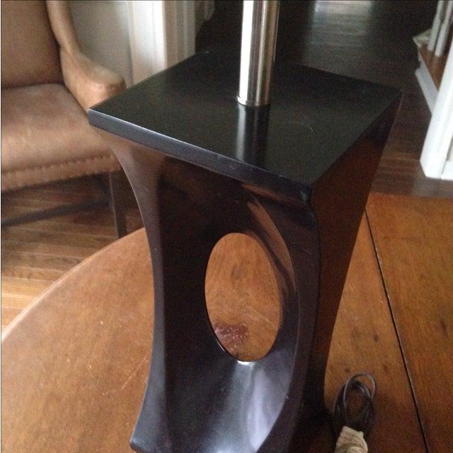 Mid-Century Modern Style Black & Chrome Lamp - Image 4 of 9