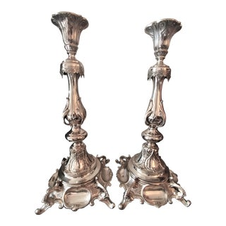 Sterling Silver 19 Century Candle Sticks - A Pair