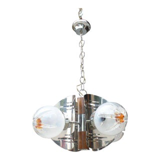 Mid Century Modern 4 Light Chandelier/ Fixture, Art Glass Shades Circa 1960s.