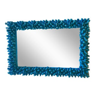 Electric Blue Faux Coral & Wood Wall Mirror