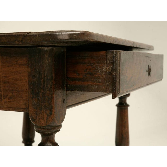 18th c rustic french farmhouse oak side table chairish for Table th width ignored