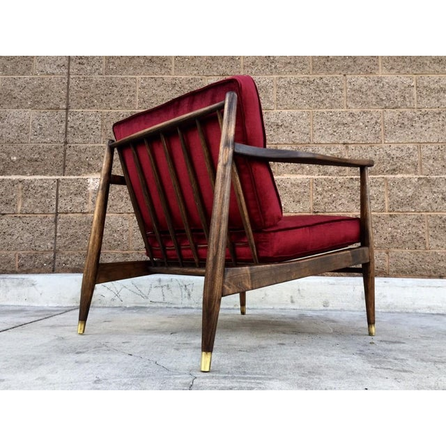 Mid Century Walnut and Velvet Lounge Chair - Image 4 of 5