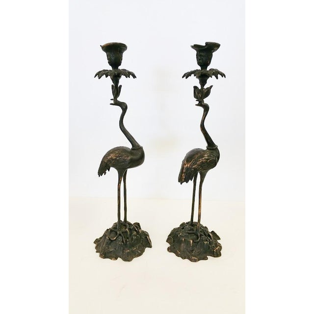 Crane Candlesticks in Bronze - A Pair - Image 2 of 5
