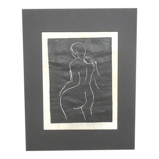 "Vintage Signed Ltd. Ed. Linocut Female Nude - ""The Bath"""