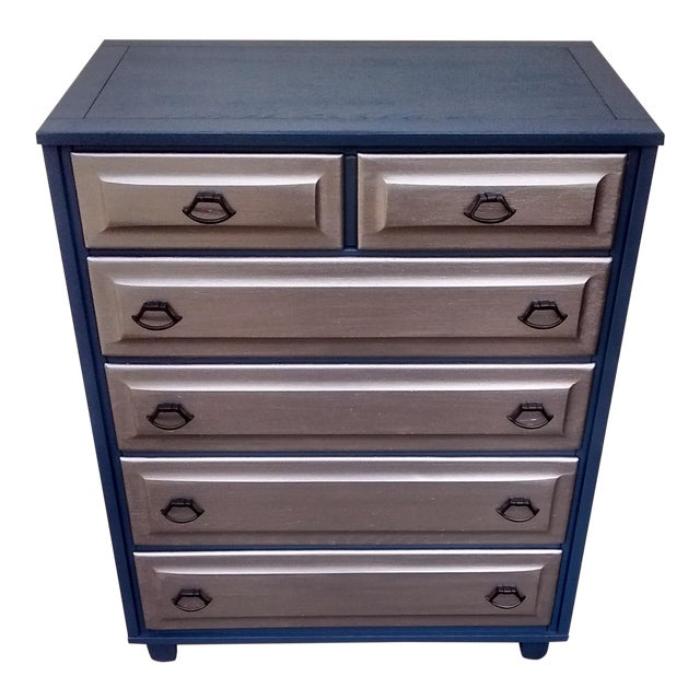 Mid-Century Blue & Metallic Solid Wood Dresser - Image 1 of 7