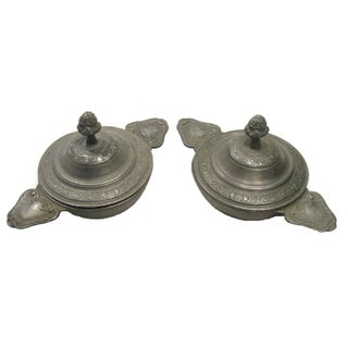 French Pewter Lidded Bowls - A Pair