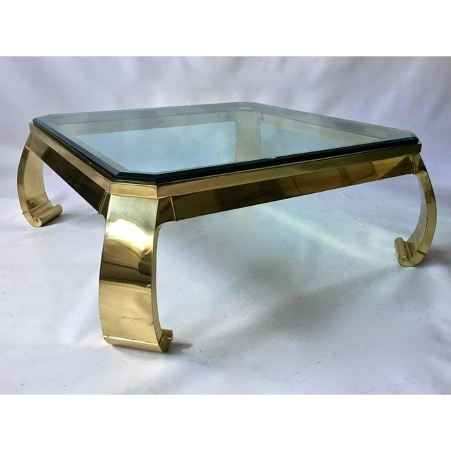 1970s Karl Springer Asian Inspired Brass Glass Coffee Table Chairish