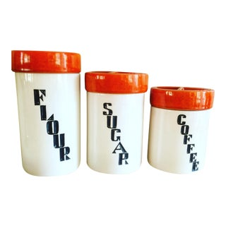 Mid-Century Ceramic Kitchen Canisters - Set of 3