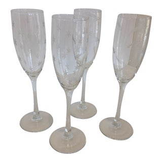 Etched Crystal Starburst & Shooting Star Champagne Flutes - Set of 4