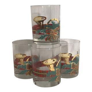 Georges Briard The Hunt Christmas Horn Red & Gold Glasses - Set of 4