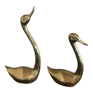 Vintage Brass Ducks - A Pair