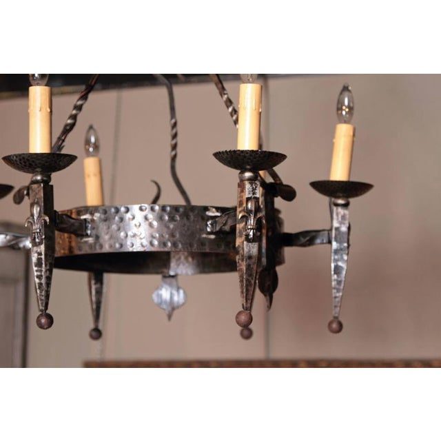 Early 20th Century French Wrought Iron Six-Light Chandelier - Image 5 of 10