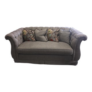Gray Tufted Loveseat Sofa
