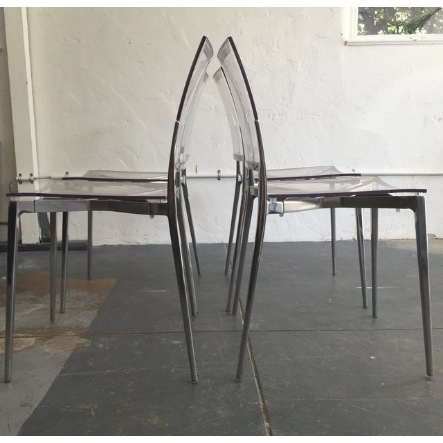 Acrylic and Chrome Dining Chairs - Set of 4 - Image 5 of 5