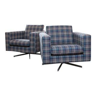 Pair of Modern Tuxedo Swivel Chairs in Tartan Plaid
