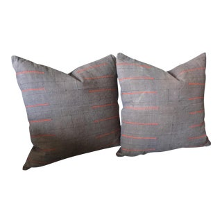 Gray Hmong Pillows - a Pair