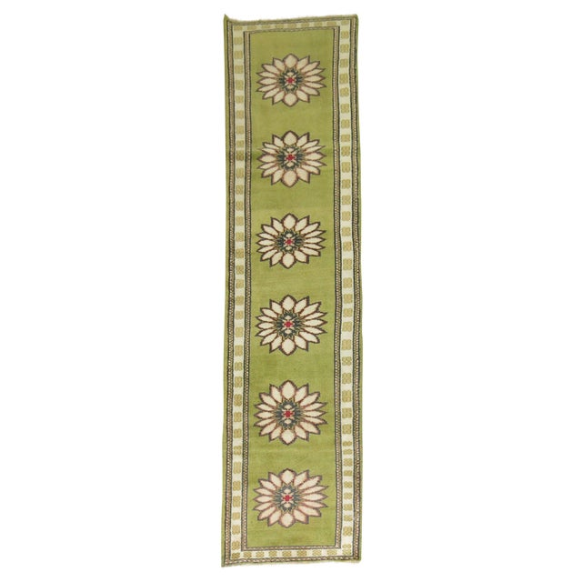 Lime Green Vintage Konya Runner - 2'4'' X 11'4'' - Image 1 of 5