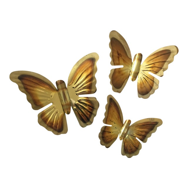 Image of 1970s Brass Butterfly Wall Hangings- Set of 3