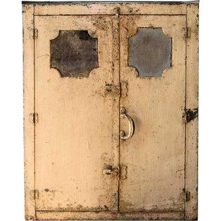 Distressed Peach Metal Cabinet