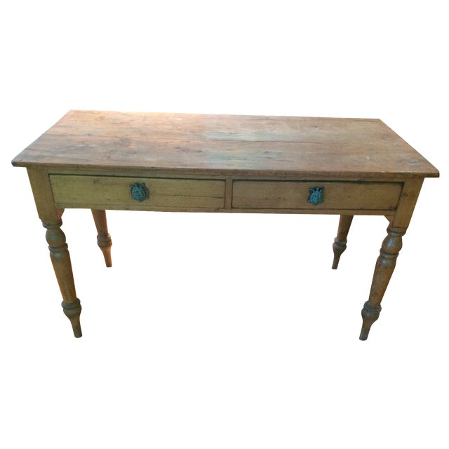 Antique Rustic Pine Console Table - Image 1 of 9
