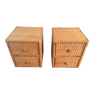 Natural Wicker Rattan Bedside Tables - A Pair