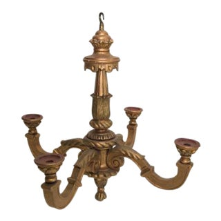 Antique Gold Gilt Wood Chandelier