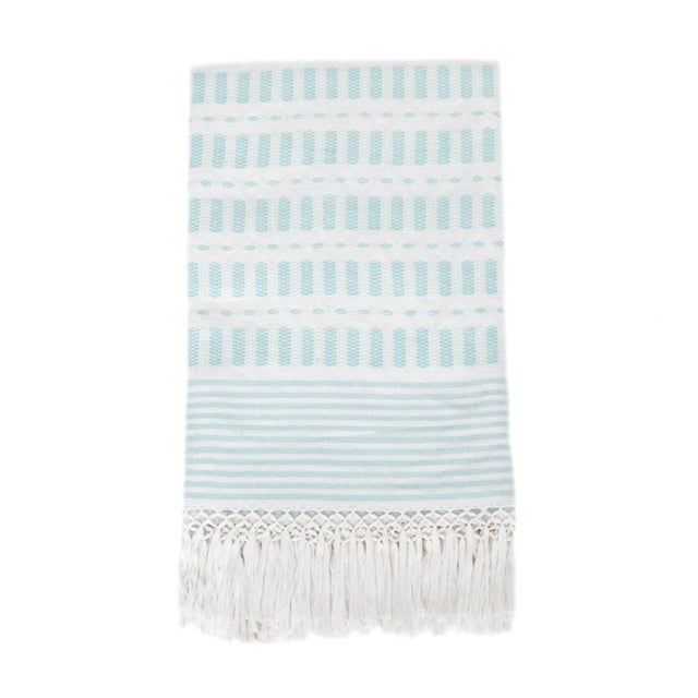 Serenity Blue Handwoven Mexican Throw - Image 1 of 7
