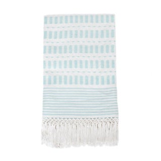 Serenity Blue Handwoven Mexican Throw
