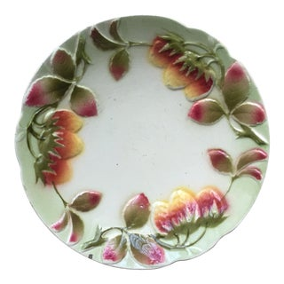 Antique French Luneville Fruit Plate-Strawberries
