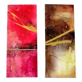 Abstract Mixed Media Paintings - Pair