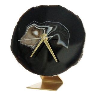 Black Agate Slice Desk Clock