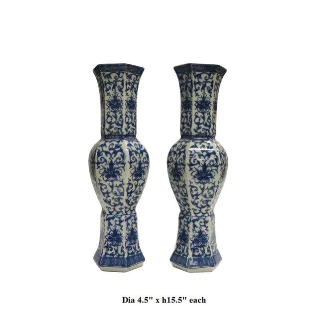 Image of Blue White Floral Hexagon Porcelain Vases - Pair