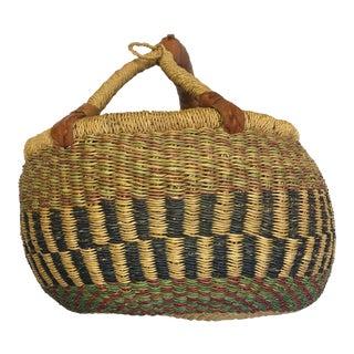 Oval Hand Woven Natural Grass Basket