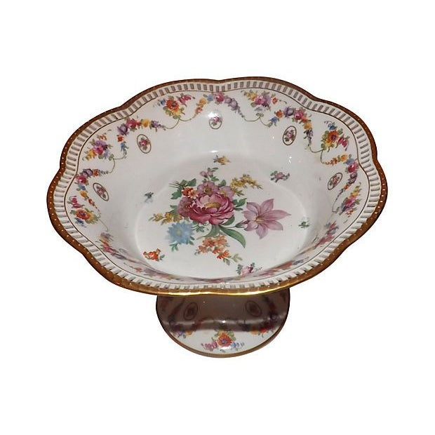 19th C. Hand Painted Porcelain Compote - Image 3 of 5