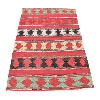 Vintage Turkish Geometric Handwoven Kilim Rug