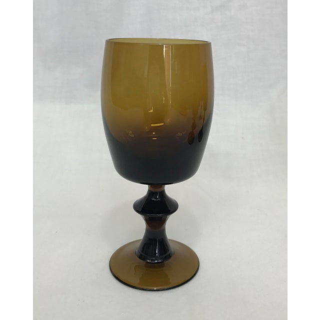 1960s Amber Stem Glasses - Set of 6 - Image 7 of 8