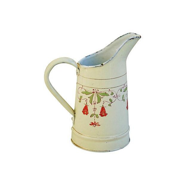 Antique 1930s French Hand-Painted White Pitcher - Image 6 of 7