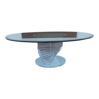 Vintage Lucite Spiral Round Coffee Table