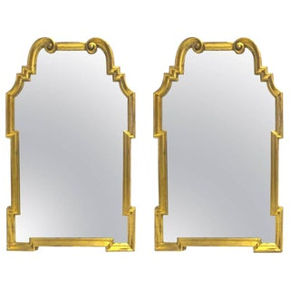 Stunning Pair of Italian La Barge Hollywood Regency Gold Leaf Wood Frame Mirrors