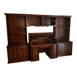 Roll Top Desk with Matching 5-Piece Cabinets, Bookshelves, and Hutch - Set of 6