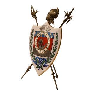 19th Century French Porcelain & Brass Paris Coat of Arms Desk Clock