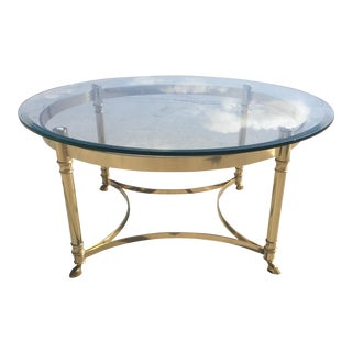 LaBarge Hollywood Regency Round Glass Coffee Table