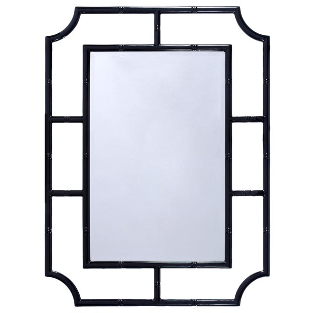 Worlds Away Black Lacquer Bamboo Wall Mirror - Image 1 of 2
