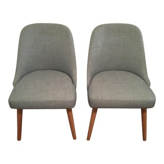 West Elm Mid-Century Upholstered Dining Chairs - A Pair