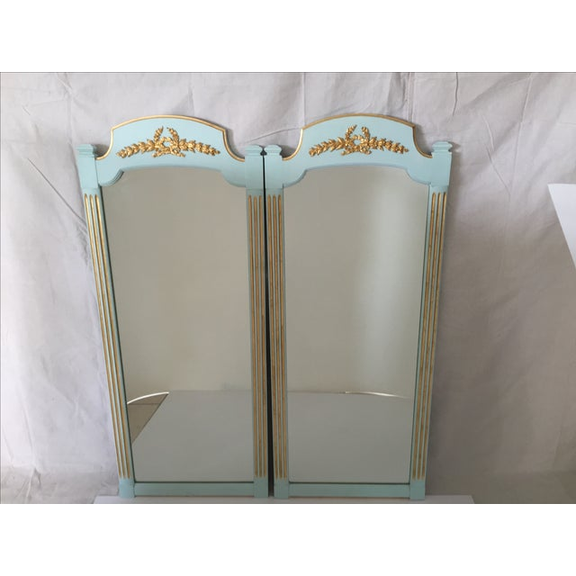 Hollywood Regency Mint Turquoise Gilt Mirrors-Pair - Image 2 of 5