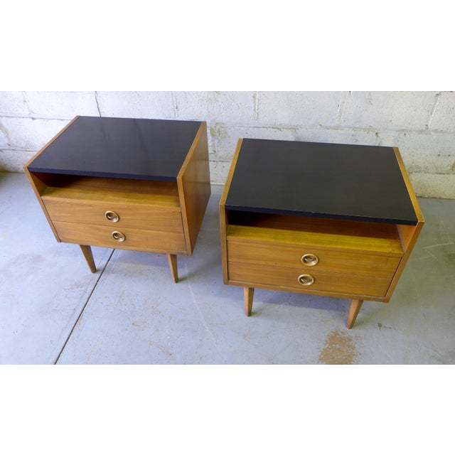 American of Martinsville Mid-Century Walnut Nightstands - A Pair - Image 4 of 7